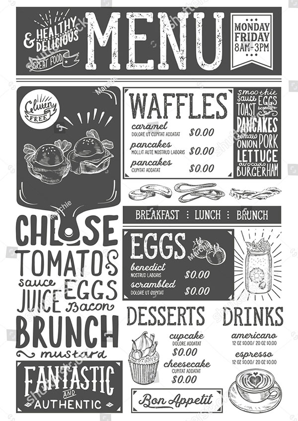 Brunch Food Menu Template