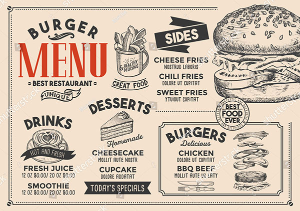 Burger Restaurant Breakfast Menu Template