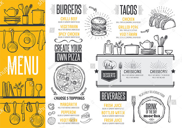 Cafe Menu Food Design Templates