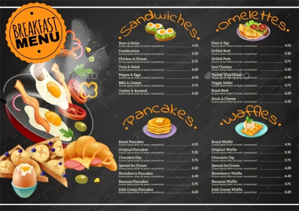 Chalkboard Breakfast Menu Template