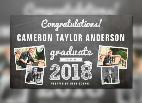 Chalkboard Graduation Party Banner
