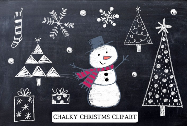 Chalky Christmas Clipart & Photoshop Brushes