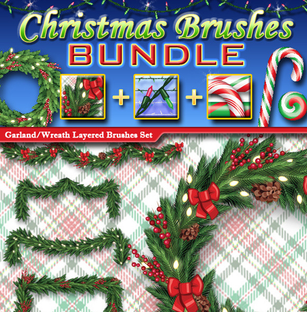 Christmas Photoshop Brushes Bundle