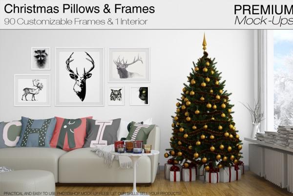 Christmas Pillows & Frames Mockup Pack