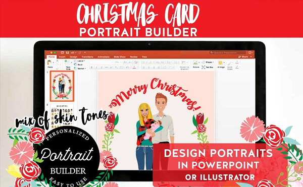 Christmas Portrait with New Born Template