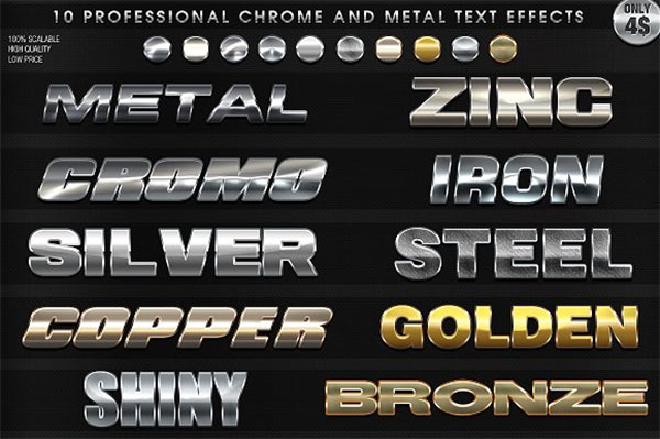 Chrome and Metal Text Effects