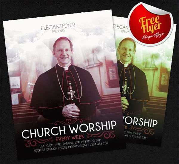 Church Worship Free Flyer PSD Template