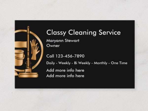 Classy Cleaning Service Business Cards
