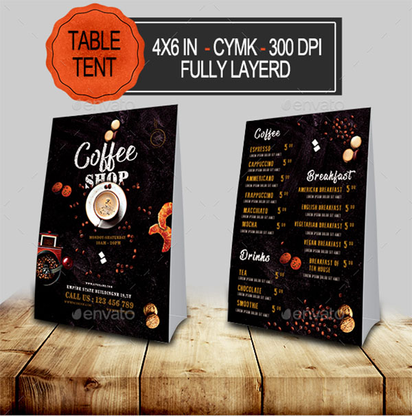 Coffee Menu Table Tent Template