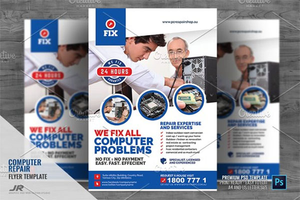 Computer Repair Promotional Flyer Template