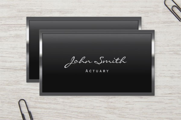 Cool Metal Border Actuary Business Card