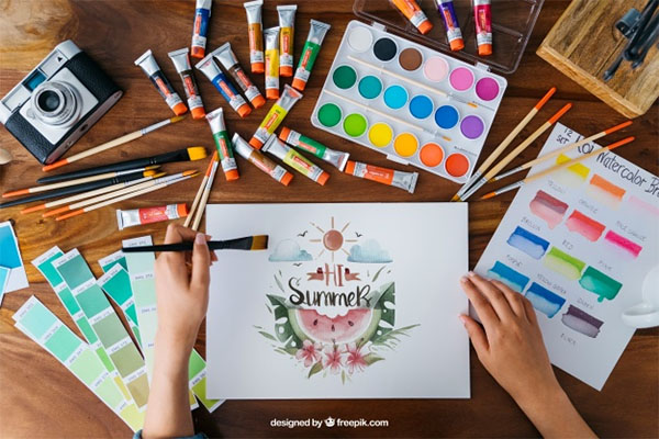 Creative Art and Paint Mockup Free PSD