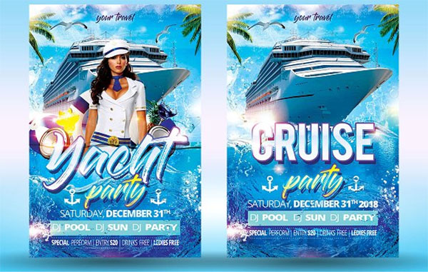 Cruise and Yacht Party PSD Flyer Template