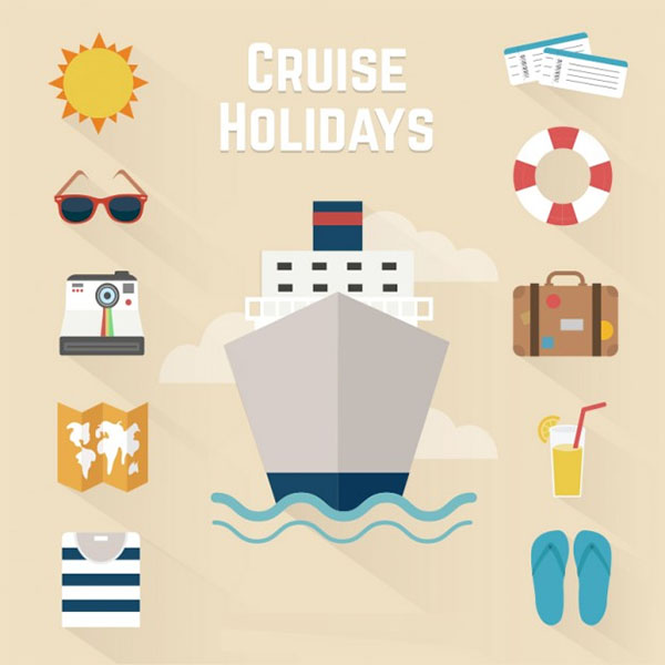 Cruise holidays Free Vector icons