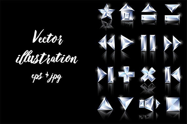 Dark Background Diamond Web Buttons
