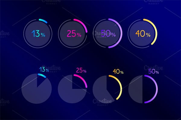 Dark Blue Infographic Web Buttons