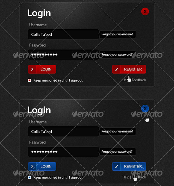 Dark Stylish Login Boxes