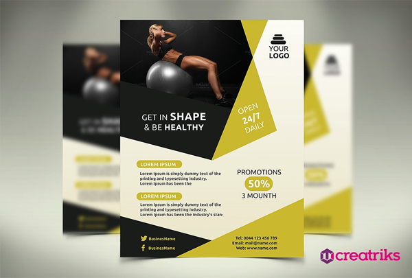 Editable Gym and Fitness Flyer
