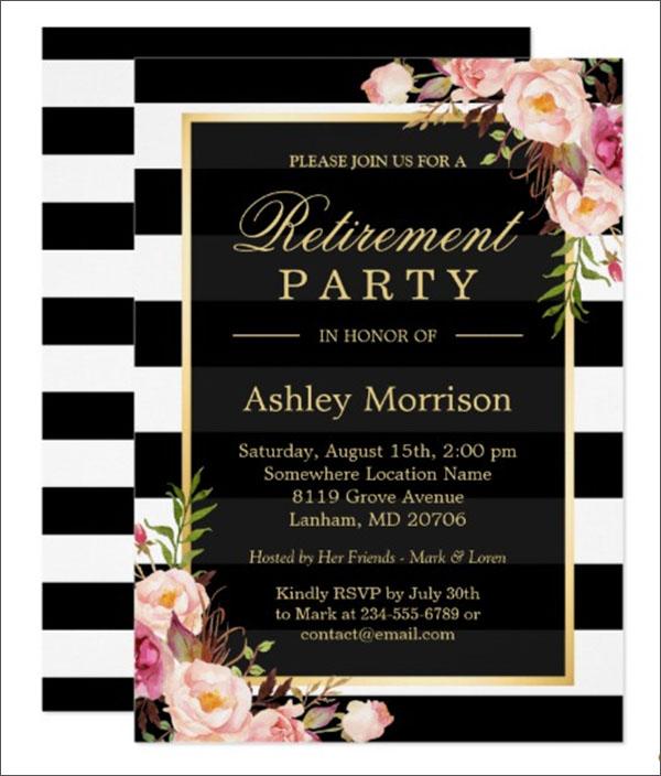 Elegant Floral Retirement Party Invitation Template