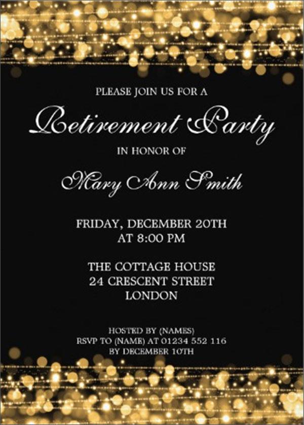 Elegant Retirement Party Gold Sparkles Invitation