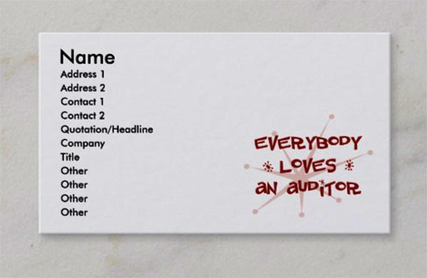 Everybody Loves An Auditor Business Card