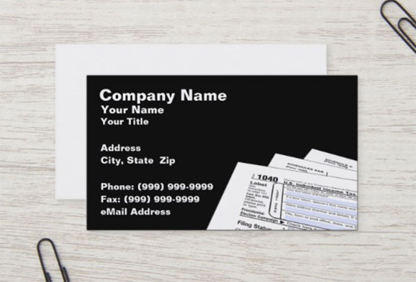 Federal Tax Forms Business Card Template