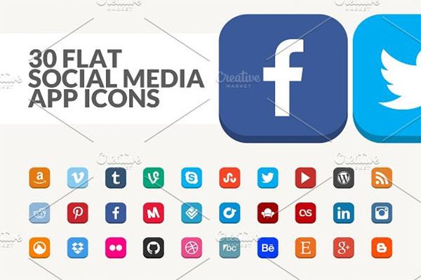 Flat Social Media App Icons