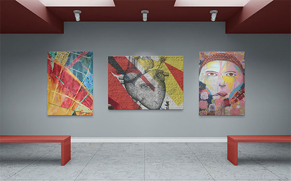 Free Art Gallery Wall Canvas Mockups