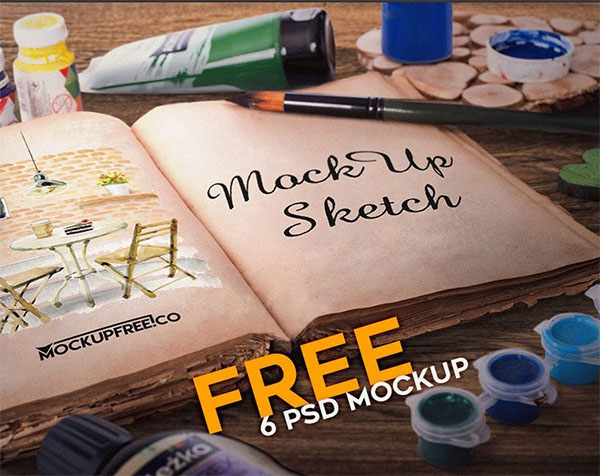 Free Art Sketch Book Mockup Template