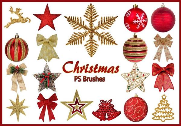 Free Christmas Stars & Balls Photoshop Brushes