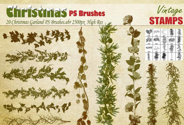 Free Download Christmas Garland Photoshop Brushes
