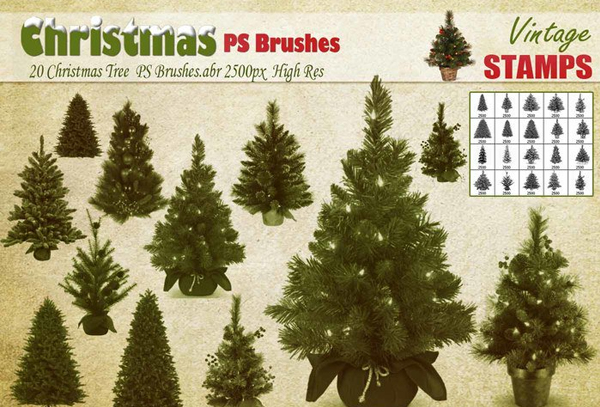 Free Download Christmas Tree PSD Brushes