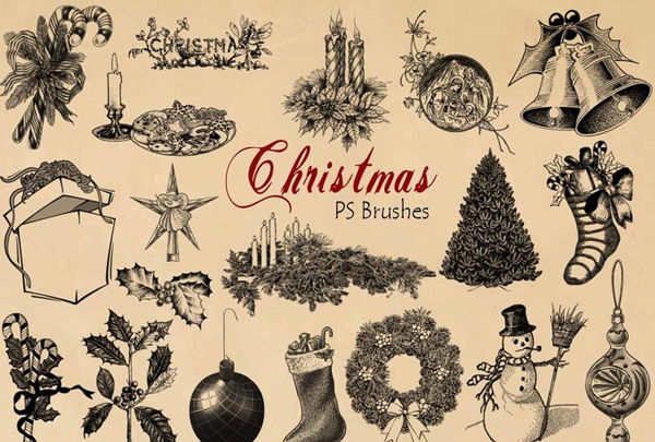 Free Engraved Christmas PSD Brushes