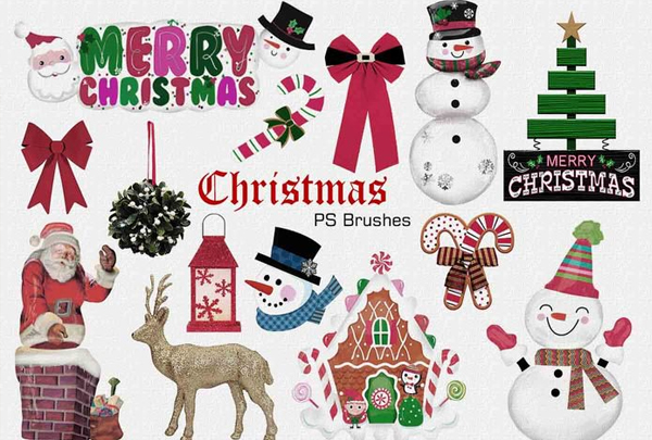 Free Download Merry Christmas Photoshop Brushes