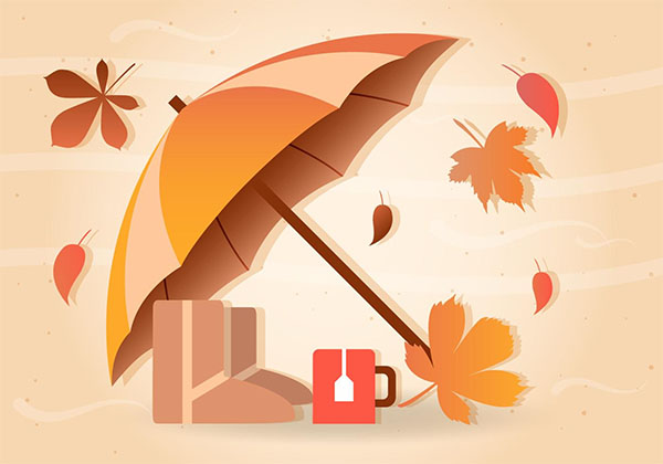 Free Fall Rain Vector Umbrella