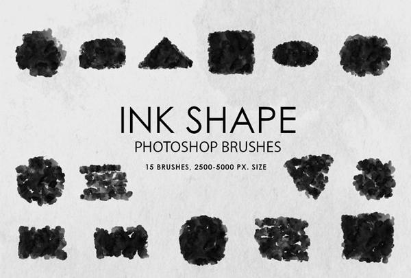 Free Ink Shapes Photoshop Brushes