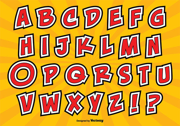 Free Letterpress Comic Style Alphabet Set