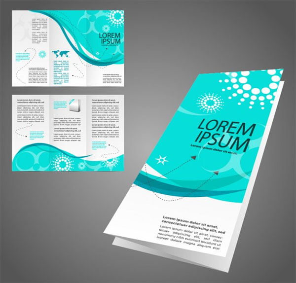 Free Marketing Turquoise brochure Free Vector