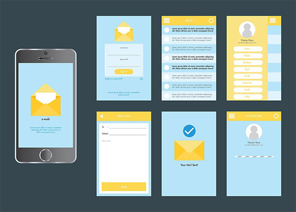 Free Mobile App Gui Vector Set