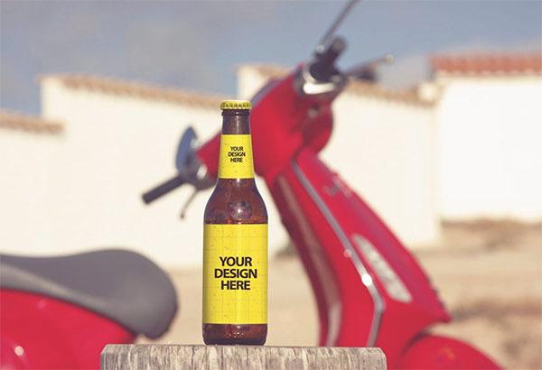 Free Outdoor Beer Bottle Mockup Template