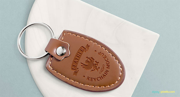 Free PSD Leather Keychain Mockup