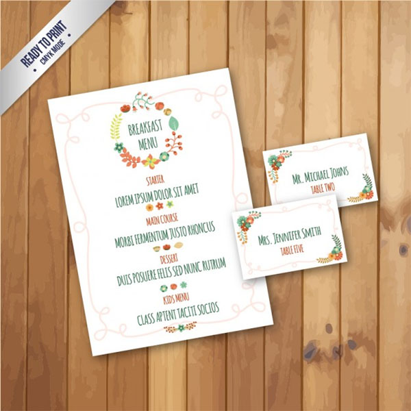 Free Vector Cute Breakfast Menu
