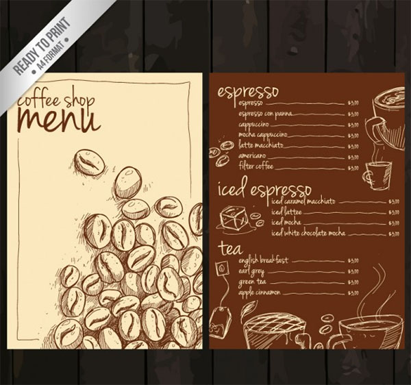 Free Vector Hand Drawn Coffee Menu