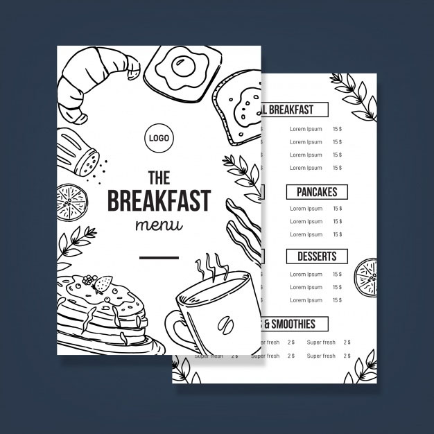 Free Vector Modern Restaurant Menu Template
