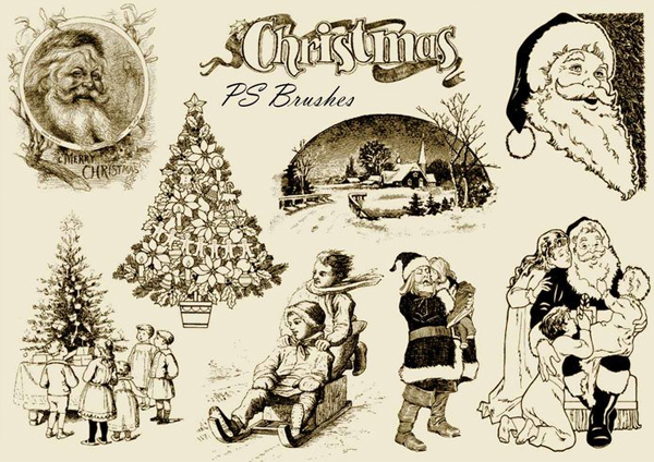 Free Vintage Christmas PSD Brushes