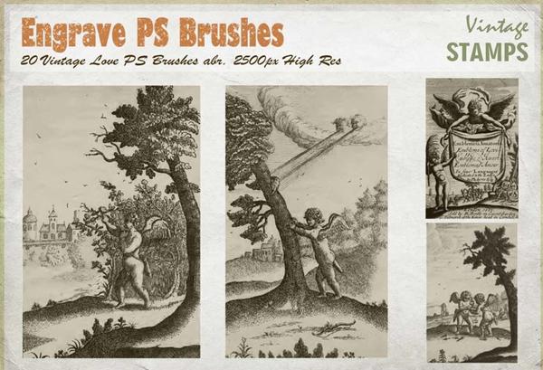 Free Vintage Engrave Love Photoshop Brushes