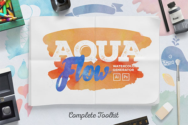 Aqua Flow Watercolor Generator Actions