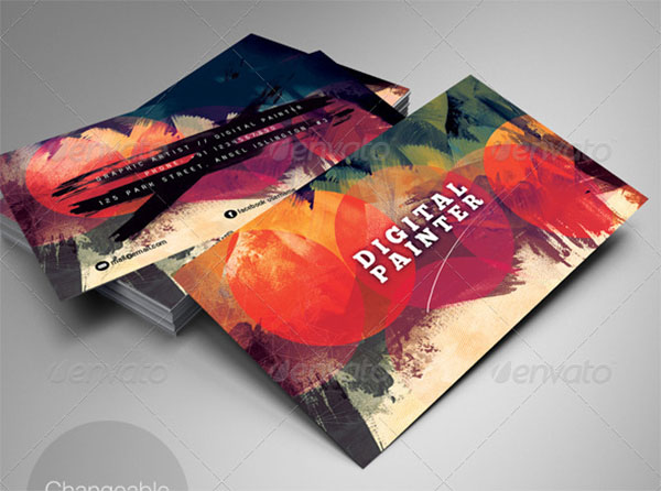 Artistic Business Card PSD Template Design