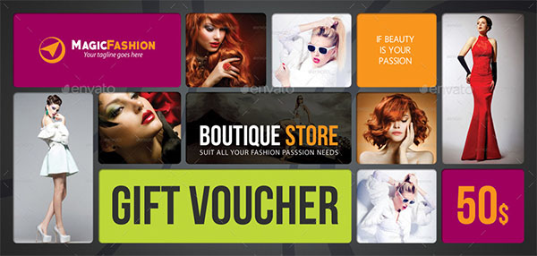 Beauty Fashion Gift Voucher Template
