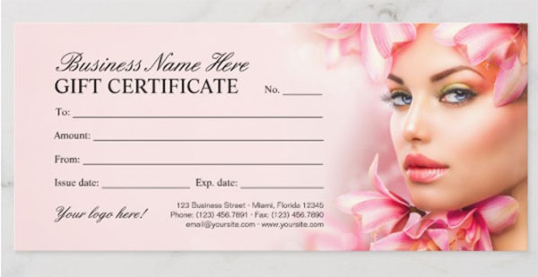 Beauty Salon Gift Certificate Spa Gift Cards